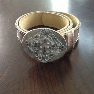 Leatherock Belt L36 Beige,Bronze with Rhinestones